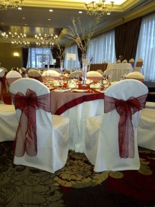 Burgundy Organza Sashes for a Winter Wedding.