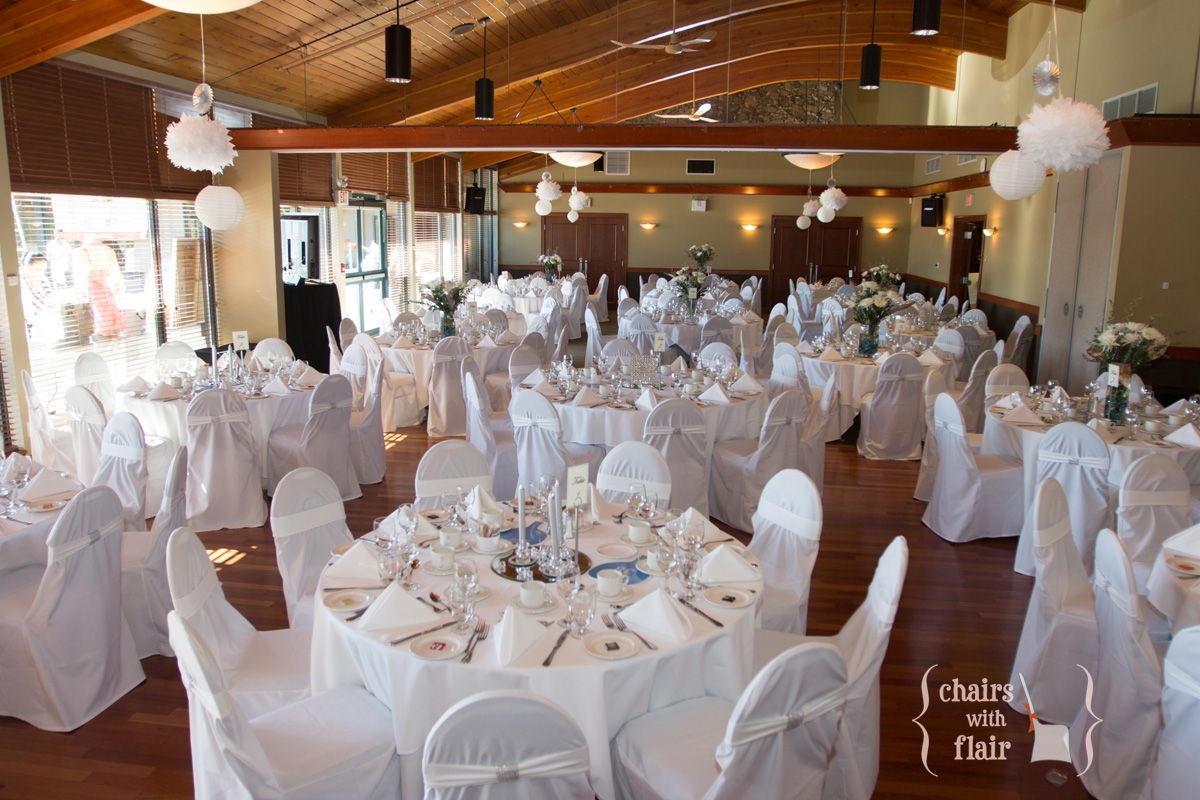 Banquet chair covers chairs with flair vancouver golf country club wedding reception junglespirit Images