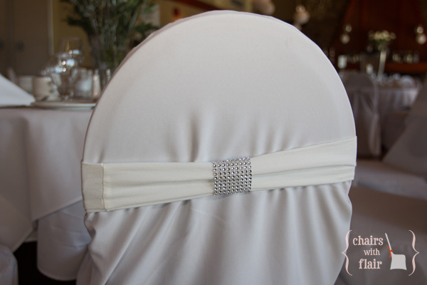 White chair cover with bling spandexband